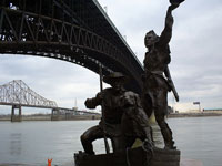 Lewis and Clark sculpture on the riverfront